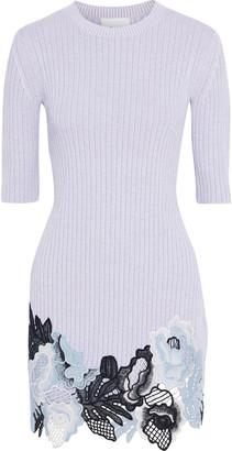 3.1 Phillip Lim Guipure Lace-paneled Ribbed Wool-blend Mini Dress