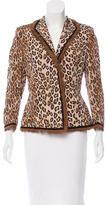 Alexander McQueen Leopard Print Fur-Trimmed Blazer
