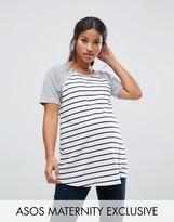 Asos NURSING Stripe Body Raglan T-Shirt with Zip Detail
