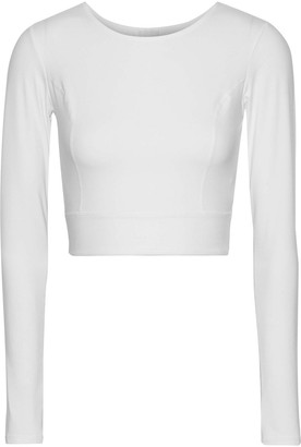 Iris & Ink Angelique Cropped Cutout Stretch-jersey Top