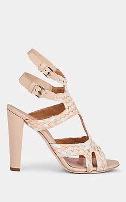 Alberta Ferretti Women's Braided Ribbon T-Strap Sandals - Beige, Tan