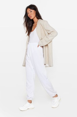 Nasty Gal Womens On the Run High-Waisted Joggers - White - 4