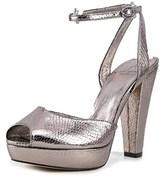 Adrianna Papell Gamma Women Open Toe Leather Silver Platform Heel.