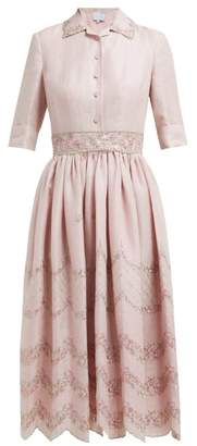 Luisa Beccaria Floral Embroidered Linen Blend Shirtdress - Womens - Pink Multi