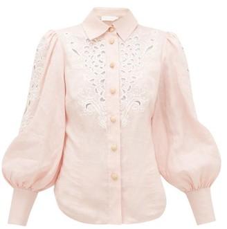 Zimmermann Freja Broderie-anglaise Linen Blouse - Womens - Light Pink