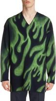 Balenciaga Flame Print Oversize V-Neck Wool Blend Sweater