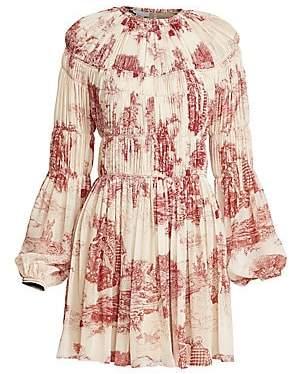 Chloé Women's Toile de Jouy Gathered Silk Dress