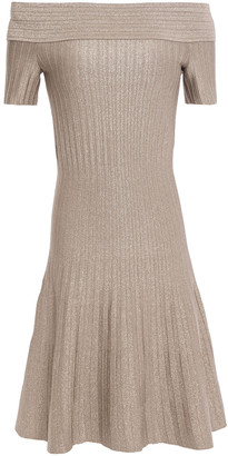 CASASOLA Off-the-shoulder Metallic Ribbed Stretch-knit Mini Dress