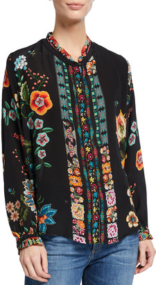 Johnny Was Plus Size Pamela Floral-Print Silk Blouse