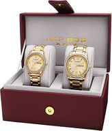 Akribos XXIV His and Hers Gold-Tone Crystal Accent Bracelet Watch Set