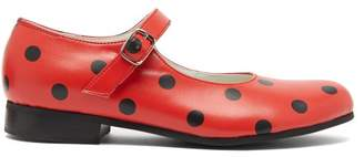 Comme des Garcons Polka-dot Mary-jane Leather Flats - Womens - Red