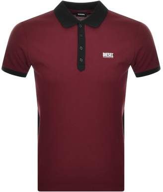 Diesel T Skatt Polo T Shirt Burgundy