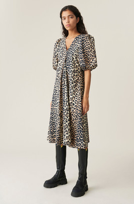 Ganni Printed Cotton Poplin V-Neck Dress