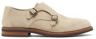 Brunello Cucinelli Monk-strap Suede Shoes - Mens - Beige