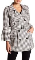 14th & Union Plaid Double Breasted Trench Coat (Petite)
