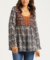 Suzanne Betro Weekend Women's Tunics 101BLACK/BROWN - Black & Rust Floral Caged-Front Tunic - Women & Plus