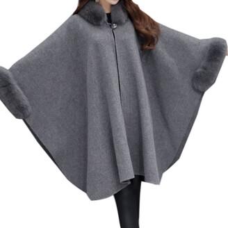 WSLCN Vintage Cape Poncho Coat Faux Fur Cloak Womens Coat Bat Sleeve Thick Cardigan Wool Blend Trim Shawl Wrap Buckle Collar Outwear Stylish Jacket Winter Grey XX-Large