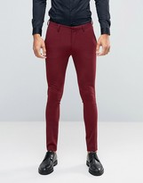 Asos Super Skinny Suit Trousers In Dark Red