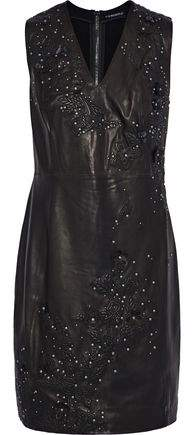 Elie Tahari Roanna Embellished Leather And Stretch-Jersey Dress