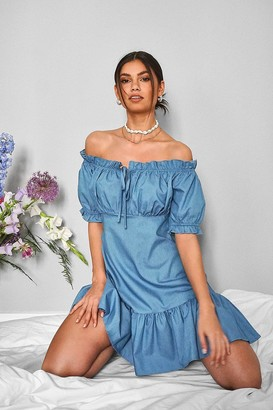 boohoo Chambray Bardot Puff Sleeve Mini Dress