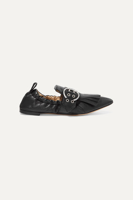 Chloé Roy Fringed Leather Loafers - Black