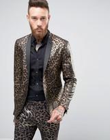 Asos Slim Blazer In Leopard Print