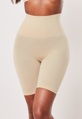 Missguided Nude Mid Thigh Bum Lift Control Knickers