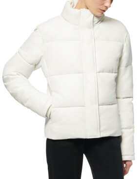 Andrew Marc Faux-Leather Puffer Coat