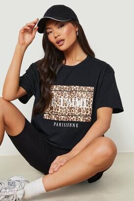 boohoo J'adore Paris Leopard T - Shirt