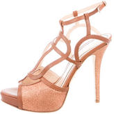Jerome C. Rousseau Glitter Leather-Trimmed Sandals