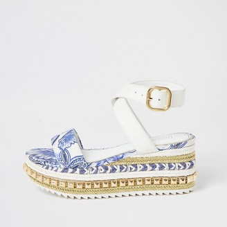 River Island Blue printed studded flatform sandals
