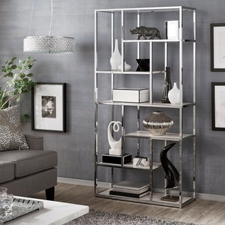 Inspire Q Alva Chrome Finish 72-inch Asymmetrical Bookcase by Bold