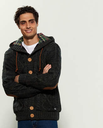 American Stitch Sherpa Fleece-Lined Elbow Patch Hooded Cardigan