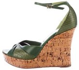Christian Dior Leather Embossed Wedge Sandals