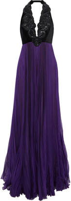 Andrew Gn Embellished Velvet And Pleated Chiffon Halterneck Gown