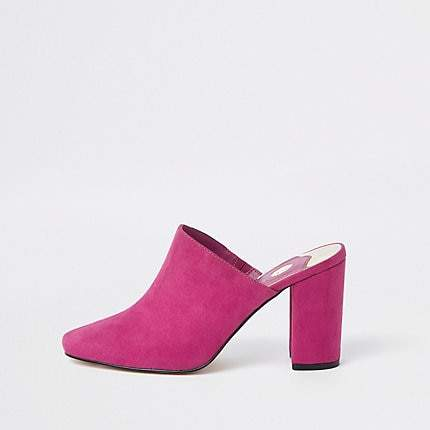 River Island Pink block heel mule sandals