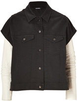 Neil Barrett Charcoal/White Denim Vest-Jacket Combo with Leather Sleeves