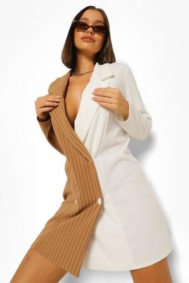 boohoo Pinstripe Spliced Oversized Blazer Dress