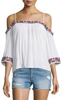 Townsen Xico Cold-Shoulder Embroidered Top, White