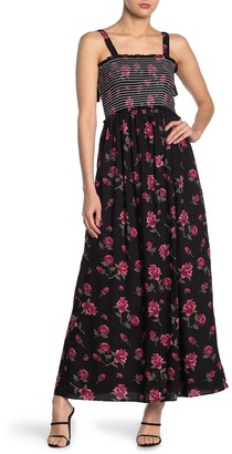 Angie Floral Tie Strap Smocked Maxi Dress