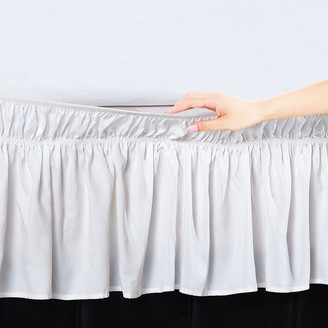 Orient Home Collection Easy Wrap Platform Free Dust Ruffle Bed Skirt, White, Queen/King