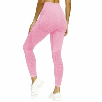 SotRong Women's Seamless Gym Leggings High Waisted Yoga Pants Power Stretch Compression Running Workout Tights Pink S
