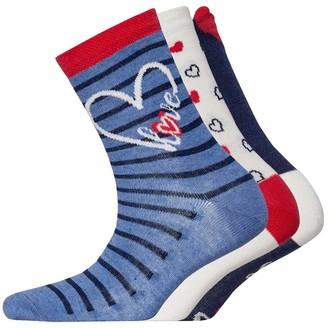 Lovestruck Womens Three Pack Socks Design Denim