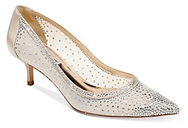 Badgley Mischka Women's Emi Crystal Embellished Kitten Heel Pumps