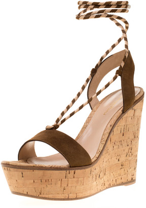 Gianvito Rossi Brown Suede Ankle Wrap Cork Wedge Sandals Size 38.5
