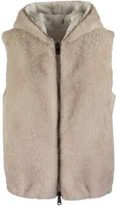 Brunello Cucinelli Reversible Vest With Hood Cashmere Goat Fur