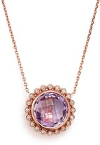 """Bloomingdale's Rose Amethyst and Diamond Pendant Necklace in 14K Rose Gold, 18"""""""
