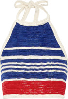 Vika Gazinskaya Cropped crocheted cotton halterneck top