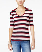 Ultra Flirt Juniors' Striped Johnny-Collar Top