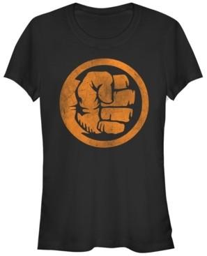 Fifth Sun Marvel Women's Hulk Logo Orange Tonal Cut-Out Halloween Short Sleeve Tee Shirt